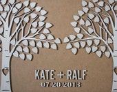 Custom wedding guest book alternative - 3D Wedding Apen Trees guest book - wood rustic wedding guest book - ASPEN TREES - 120 leaves