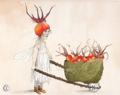 Gathering Rose Hips - faery/fairy art print (reproduction), unmatted by Snow Fairy Cottage