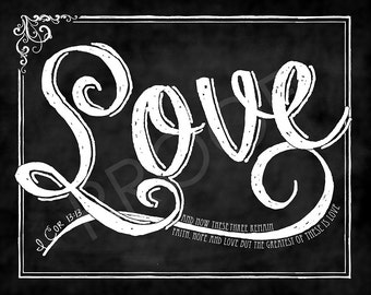 "Scripture Art- ""Love"" I Corinthians 13:13 Chalkboard"