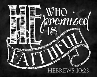 Scripture Art - Hebrews 10:23 Chalkboard Style