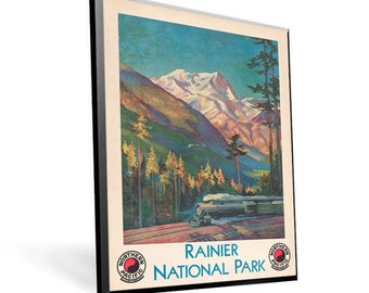 National Parks Poster Reprint Rainier on 9x12 PopMount Ready to Hang FREE SHIPPING 310150912