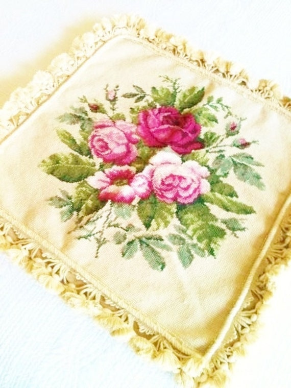 Vintage Shabby Chic Oversized Rose Needlepoint Pillow Cover, Romantic Home, Olives and Doves