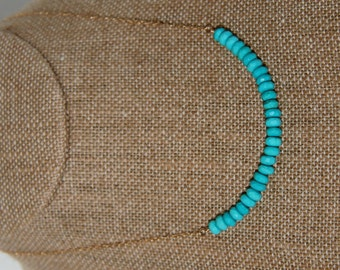 """Arc of turquoise rondelles accents small links of 14k gold-filled chain - 16"""" necklace"""