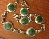 Vintage Jade Bracelet. Round discs on Silver? Unmarked. Great piece, old beauty.
