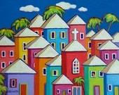 Colorful Houses Tropical Caribbean Folk Art Glicee Print 9x12, 12x16, 18x24 Church Cat - Little Village - Korpita ebsq