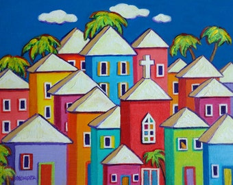 Colorful Houses Painting, Tropical Art, Coastal Art, Caribbean Folk Art, Church art, Cat art, 9x12, 12x16, 18x24 - Little Village - Korpita