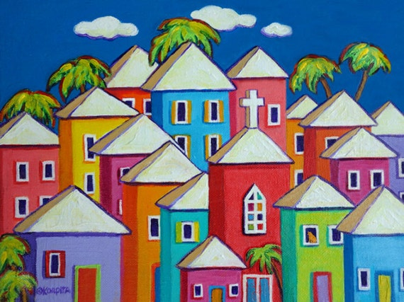 Colorful Houses Tropical Caribbean Folk Art Glicee Print 9x12, 12x16, 18x24 Church Cat - Little Village - Korpita ebsq