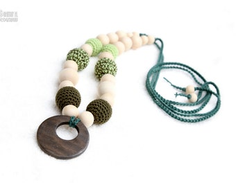 Teething nursing necklace, Babywearing Necklace , chew beads with teething ring and organic cotton