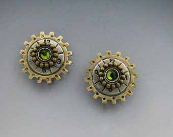 Steampunk Earrings, Sprocket Earrings, Hooty Owl Earrings RP0448