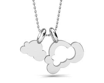 Simple unbalance Cloud shape pendant, Silver Cloud Jewelry,  Personalized Gift Silver Pendant, Handmade by Gwen Park Jewellery Designs