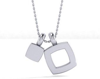 Unique  Cushion Shape Sterling SIlver Pendant, Modern and simple Flat cushion shape disc silver pendant Necklace,