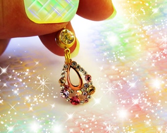 SALE-Belly Ring, 14 KG Neoglory Rose Gold Multi Color Crystal open Teardrop, Belly Button Jewelry, For Women and Teens