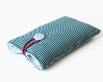 mobile phone case handmade cover turquoise strips fabric mobile phone bag 3G, 3GS, 4, 4S, 5