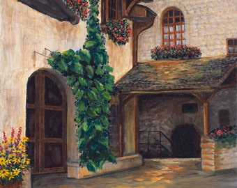 "Rustic Swiss Village Limited Edition Giclee of Original Oil on Canvas - ""Swiss Village 1"""