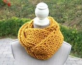 Mustard Hand Knit Cowl Neck Scarf, Chunky Cowl Neck Scarf, Infinity Scarf