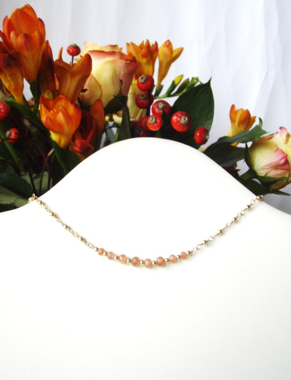 Sunstone necklace, gold gemstone jewelry OOAK