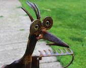 Google Me- Metal Art Sculpture- Iron Yard Art- Google Eye Chicken- Salvage Metal Art Work- Rustic