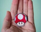 Tiny Super Mushroom -- Tiny Nintendo Embroidered Iron-on Mario Patch