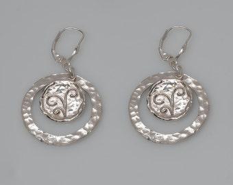 sterling silver coin earrings, sterling silver hammered earrings, silver drop earrings,  silver disc earring