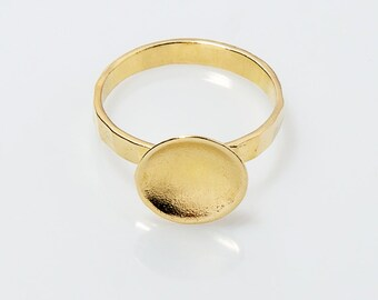 Sterling Silver with 18k gold plating  Ring Circles Rings Hammered Ring with a Tiny cup  Jewelry  Handmade