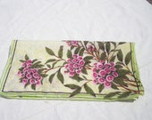 Vintage Pink and Green Flowered Hankie Large