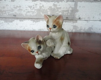 Vintage Inarco Kittens Playing with One Another Tabby Kittens Made in Japan