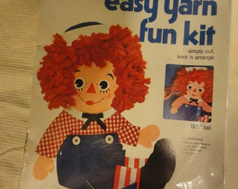 Vintage Raggedy Andy Easy Yarn Fun Kit Unused The Bobb Merrill Co Original Package
