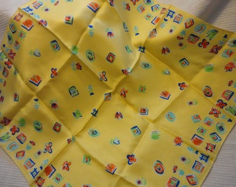 Vintage Ostinelli Silk Scarf Made in Italy Screaming Spring Bright Yellow Orange Blue Green