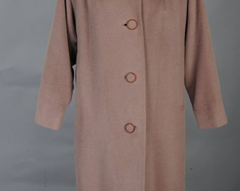 1950s cocoa colored Travere woven by Worumbo ladies dress coat