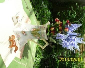 Antique Chocolate Pot/Coffee pot/Teapot/Collectable/Vase/Decoration-Square Floral Design