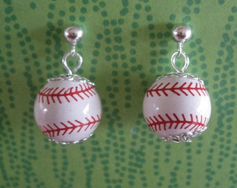 Dangly Ceramic Baseball Earrings with Sterling Plate Studs FREE Shipping