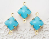 Vintage Aqua Blue Moonstone 8mm Square Glass Stones in Brass Connector Settings - 6
