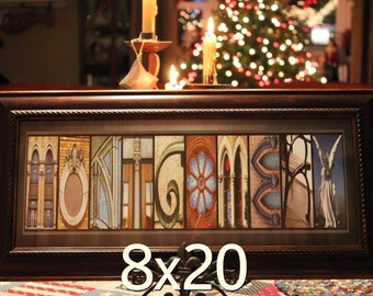 8 x 20 Personalized Alphabet Photography ABC Letter Wall Art Family Name Word