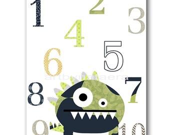 Monsters Numbers Nursery Numbers Baby Boy Nursery Decor Baby Nursery Print Children Art Print Nursery Prints Boy Art Gray Blue Green