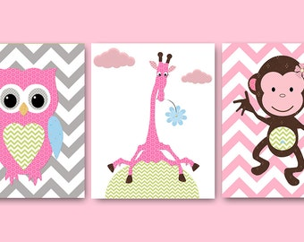 Owl Nursery Monkey Nursery Giraffe Nursery Baby Girl Nursery Art Nursery Wall Art Baby Nursery Pink Kids Room Decor Kids Art set of 3 /
