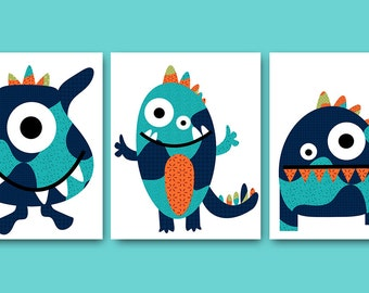Monsters Nursery Baby Nursery Decor Baby Boy Nursery Kids Wall Art Kids Art Baby Room Decor Nursery Print Monster Blue Orange Baby Art
