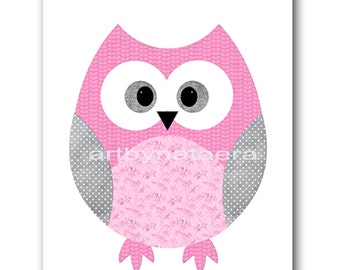 Kids Wall Art Owl Nursery Owl Decor Baby Nursery Decor Baby Girl Nursery Kids Art Baby Room Decor Nursery Print Girl Print Rose Gray