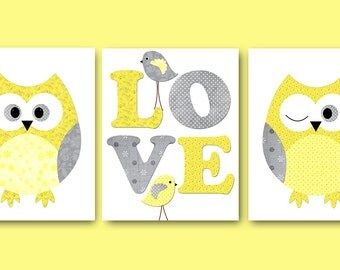 Kids Wall Art Owl Nursery Owl Decor Baby Nursery Decor Baby Girl Nursery Kids Art Baby Room Decor Nursery Print set of 3 Yellow Gray