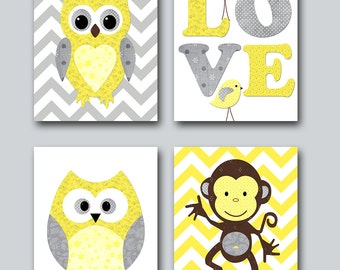Kids Wall Art Owl Nursery Canvas Art Monkey Nursery Print Baby Nursery Decor Baby Boy Baby Girl Nursery Kids Art Yellow Grey set of 4 /