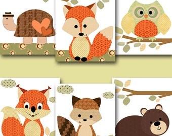 Kid Wall Art Turtle Nursery Bear Nursery Squirrel Nursery Owl Nursery Fox Nursery Baby Girl Nursery Art Baby Room Decor set of 6 Orange