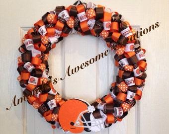 Cleveland Browns Football Ribbon Wreath