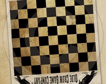Game Board Primitive Olde Crow-Printable Digital Feedsack Logo JPEG File-Instant Download-Use for Pillows,Bears,Framed Prints,Labels
