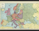 Vintage Map of Europe From 1935 Original