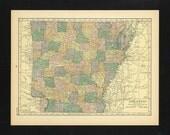 Vintage Map Arkansas From 1926 Original