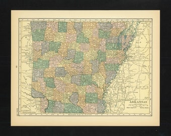 Vintage Map Arkansas From 1926 Original