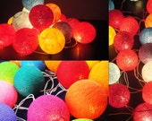 20 Big Cotton Balls Mixed Mix Tone Fairy String Lights Party Patio Wedding Floor Table or Wall Hanging Gift Home Decor Christmas Bedroom