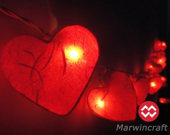 20 Romantic Red Hearts LANTERN Paper Handmade Fairy String Lights Party Patio Wedding Floor Hanging Gift Home Decor Living Bedroom Holiday