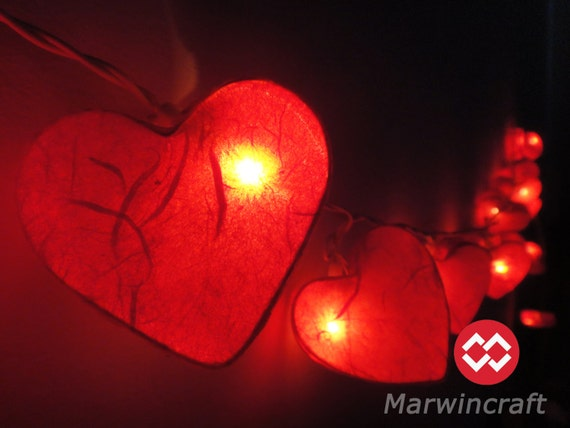 Red String Lights For Bedroom : Red Paper Mulburry String Lights Heart Fairy Lights Bedroom
