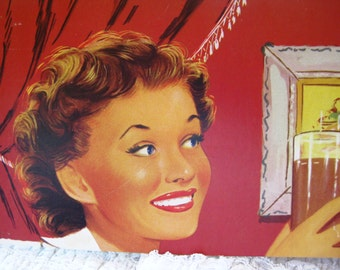 Vintage Cardboard Pretty Gal with Cola in hand. Great