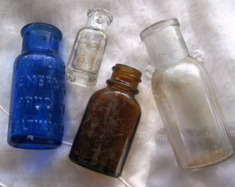 Antique Collectible Glass Bottles (Apothecary Nail Polish etc) Set of Four USED